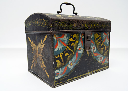 Rare Berlinware Early American Paint Decorated Document Box Blue Ground Connecticut