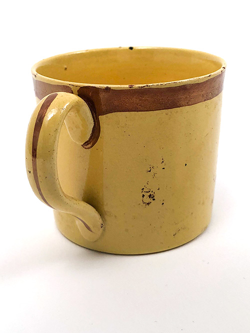 Antique Coffee Can Motto Mug Make Hay While the Sun Shines Canary Lustreware For Sale from Z and K Antiques