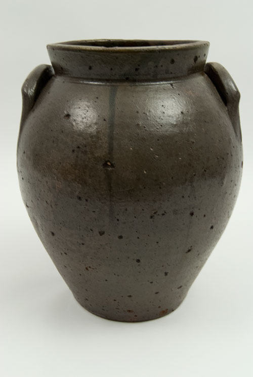 1830s Ovoid Ohio Antique Blue Decorated Stoneware Storage Jar with Freehand Decoration