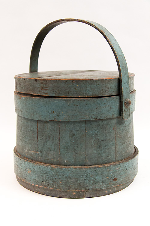 Original Blue Paint 18th Century New England Firkin For Sale