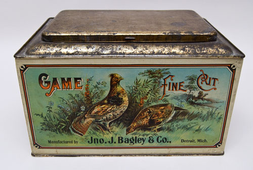 Game Fine Cut Tobacco Bin John J. Bagley & Co. Detroit Michigan Antique American Advertising For Sale
