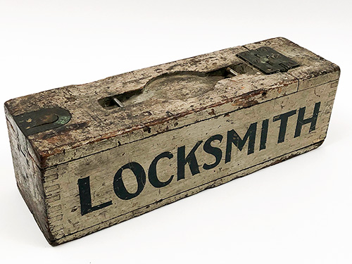 Antique 1920s Locksmith Box Roosevelt Hotel NYC Paint Decorated Americana
