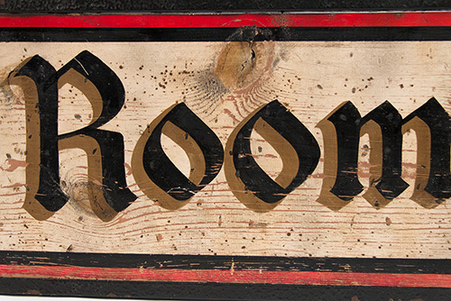 Antique 1920s Four Color Wooden Trade Sign with Wrought Iron Frame