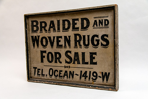 1940s Black and White Antique Wooden Trade Sign Braided Woven Rugs Telephone Ocean Vintage Decorative Country Primitive Collectables