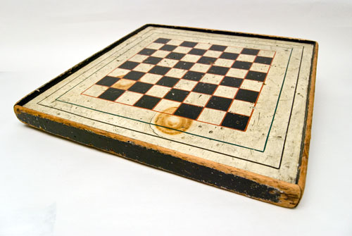 Antique Game Board  American New England Folk Art  Checker Board Parcheesi Game Original Paint For Sale