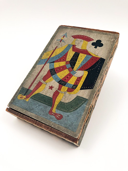Jack of Hearts Folk Art Paint Decorated Playing Cards Box For Sale From Z and K Antiques
