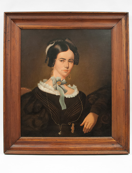 19th Century Antique Oil Paiting on Canvas Portraits from Monmouth Illinois Rare Pair 1830s Midwestern Portraits Americana