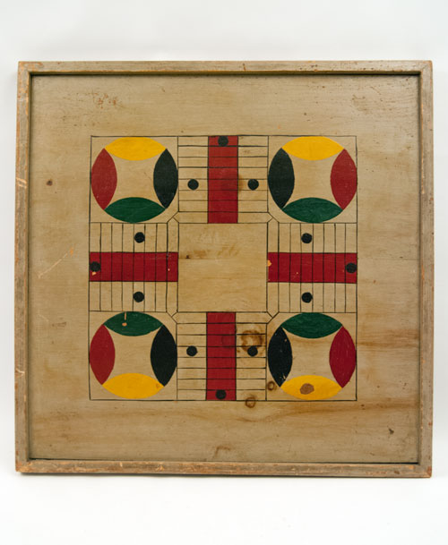 Antique american parcheesi game board in original paint, blue, red, yellow, green and black, 19th century antique folk art gameboard for sale