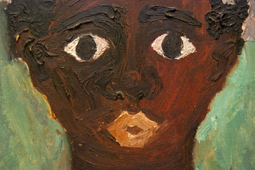 Black Americana Antique Folk Art OOB Portrait 1965 Black Girl, Pink Dress, Gold Cross, Civil Rights Era Outsider Art Painting for Sale