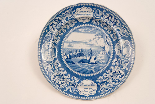 Landing of the Fathers at Plymouth Rock Historic Scene Blue and White Staffordshire Pottery Enoch Wood and Sons
