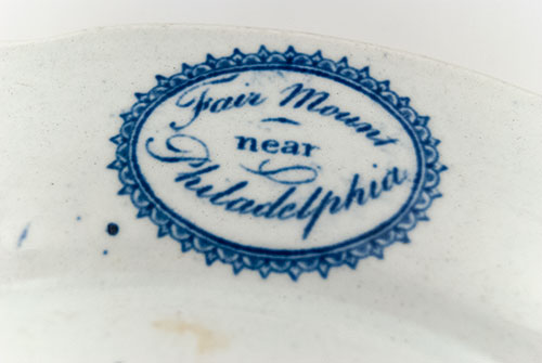 Fairmount Near Philadelphia American Scene Historical Staffordshire Blue White Antique Pottery