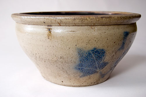 Antique American One Gallon Stoneware Bowl with Cobalt Decoration Ovoid Form For Sale