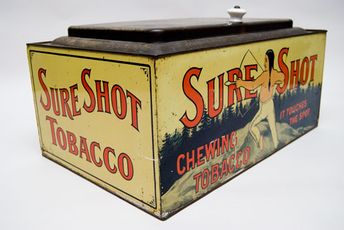 Antique American Advertising Sure Shot Tobacco Bin with Indian Brave For Sale