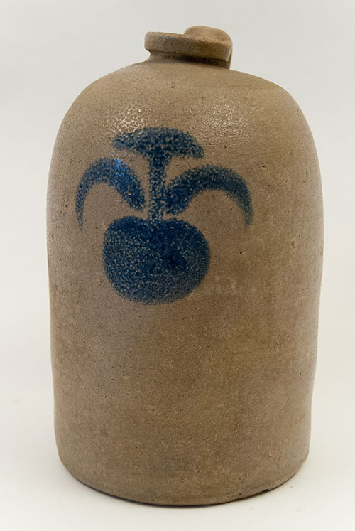 Antique Ohio Pottery Blue Decorated Stoneware Salt Glazed Jug Apple Country Primitive For Sale