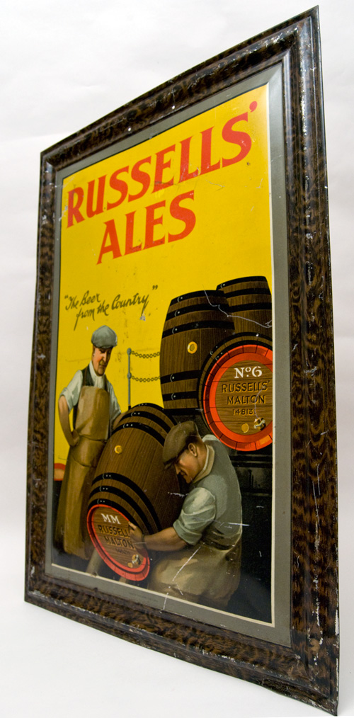 Antique Advertising Tin Sign for Russells Ales Beer from the Country