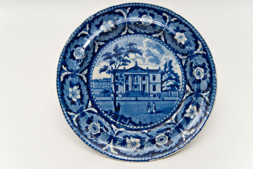 Beauties of America Library Philadelphia J and W Ridgeway 8 Dark Blue Historical Staffordshire Plate For Sale