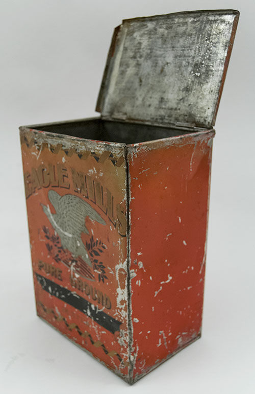 Antique American Advertising Store Display Tin with Eagle in Red, Gold, Black and White from Denver Colorados 1920s Eagle Mills