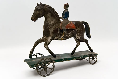 Bill Of Sale Illinois >> Early American Tin Horse and Rider Bell Toy Antique Pull Toy Althoff Bergmann For Sale
