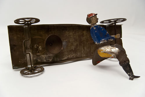 Early American Tin Horse and Rider Bell Toy Antique Pull Toy Althoff Bergmann For Sale