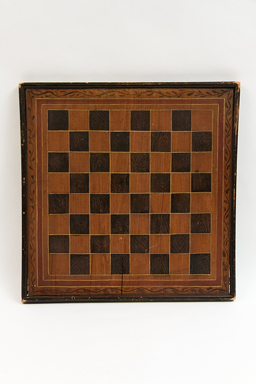 Double Sided Backgammon and Checkers Hand Painted Folk Art Gameboard in Original Surface For Sale from Z and K Antiques