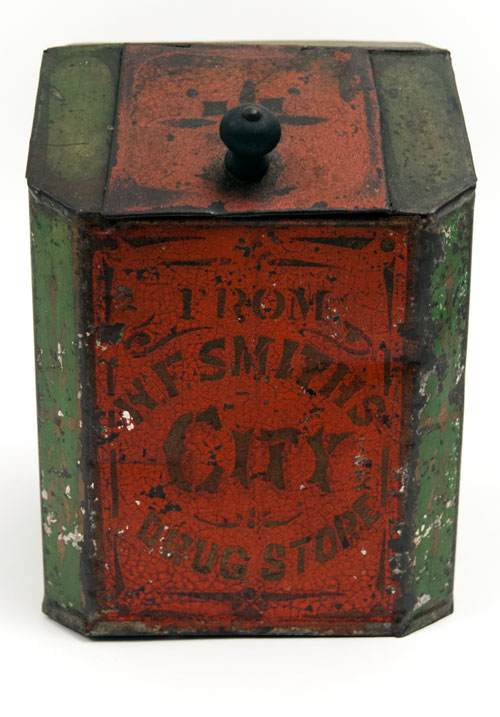 Antique American Advertising Drug Store Display Tin in Red Green Gold from W. F. Smiths City