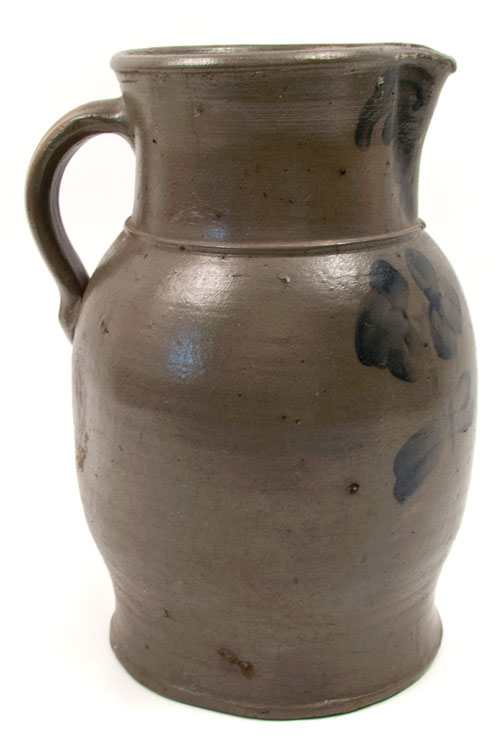 Two Gallon Salt Glazed Blue Decorated American Stoneware Pitcher