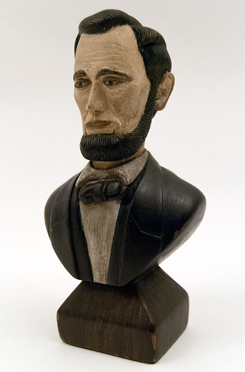 Antique Abe Lincoln Carved Bust Patriotic Historical Americana Abe Abraham Memorialbila For Sale