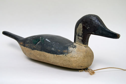 Antique American Folk Art Hand Carved Pintail Hen Duck Decoy Original Paint For Sale