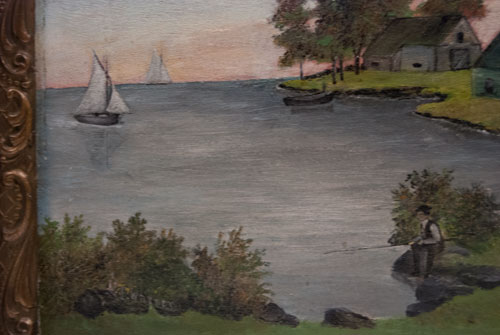 Antique American Folk Art Painting Early 20th Century Boston Mass W.F. Warren