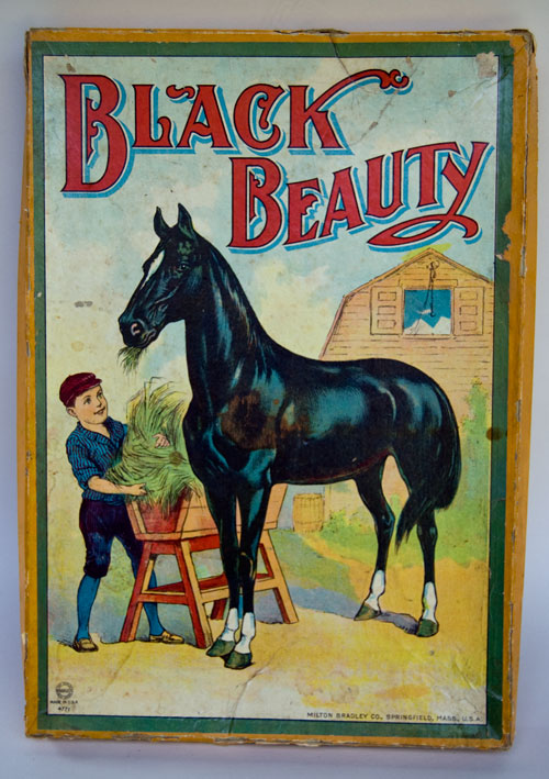 Antique American Game: Black Beauty: 1910 Milton Bradley Sailor Boy in Blue, Girl in Red