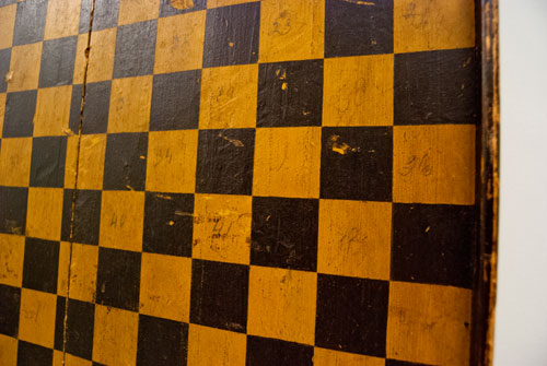 Antique American Game Board in Original Mustard and Black Paint