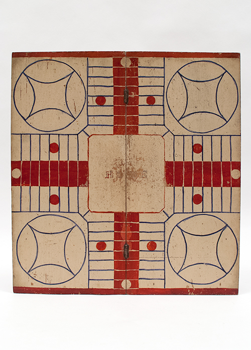 Red white and blue Patriotic American Antique Parcheesi Folk Art Gameboard For Sale From Z and K Antiques