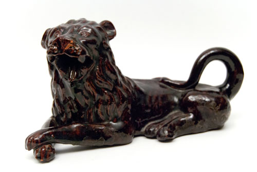 Antique American Redware Sewer Tile Lunch Hour Folk Art Recumbant Lion Ohio