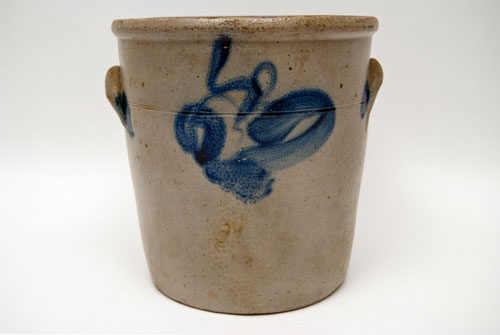 Blue Decorated Stoneware Jar with Cobalt Floral Spray and Canted Sides