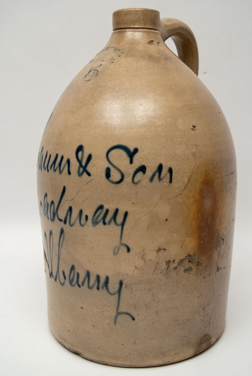 Signed West Troy Pottery Cobalt Decorated New York Stoneware Script Jug from Nausbaum and Son, Albany NY