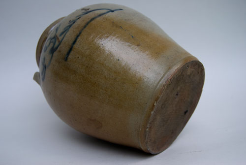 Southern Ovoid Storage Jar: Broken Stem Decoration: Cobalt Decorated Salt Glazed Antique Stoneware For Sale