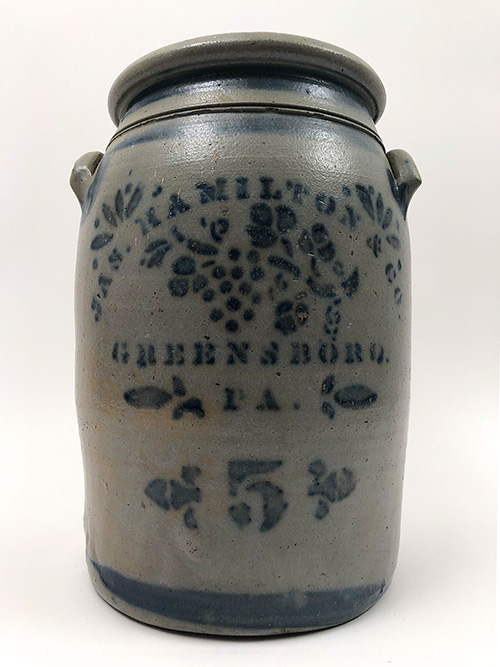 Five Gallon Southwestern Pennsylvania Salt Glazed Cobalt Decorated James Hamilton Crock For Sale From Z and K Antiques