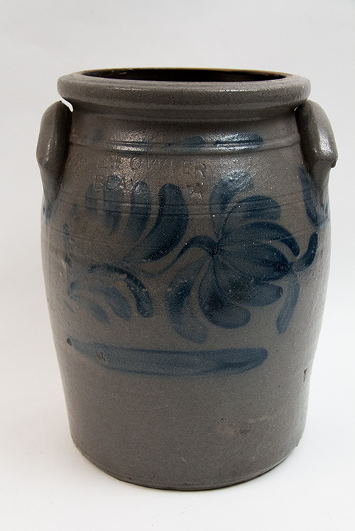 Enoch Fowler Beaver County Pennsylvania 3 Gallon Cobalt Decorated Stoneware Churn For Sale