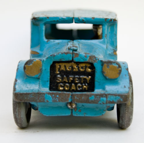 arcade cast iron fageol bus for sale large 12 inch size: brilliant original blue paint