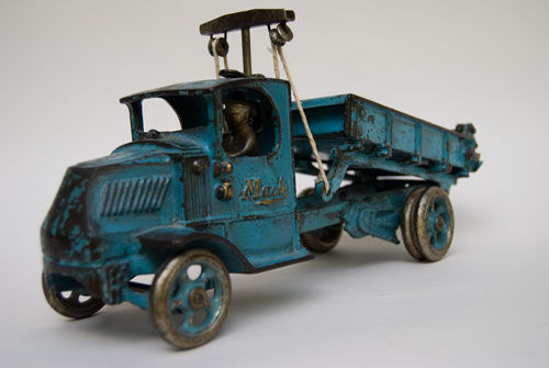Arcade Cast Iron Mack Dump Truck 12 inch long Original Blue Paint Bus For Sale: brilliant original blue paint