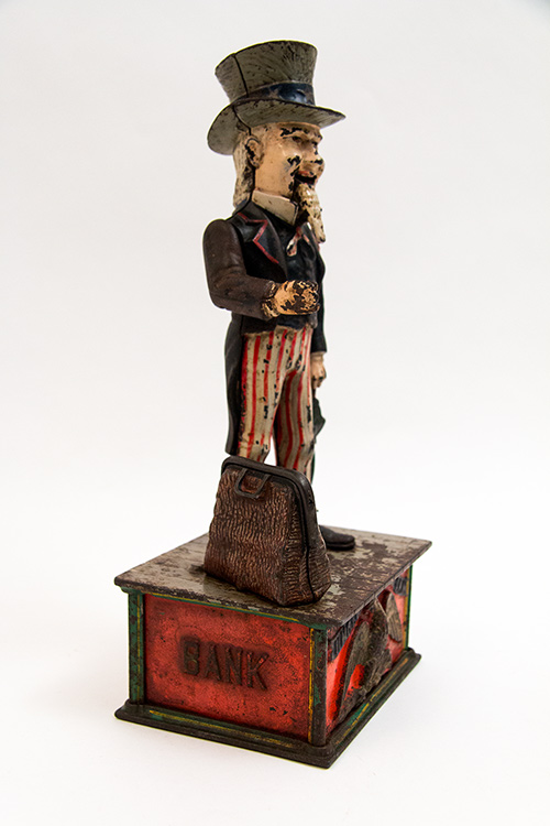 Antique Uncle Sam Cast Iron Mechanical Bank