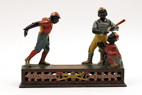 Dark Town Battery Antique Cast Iron Mechanical Bank in All Original Paint