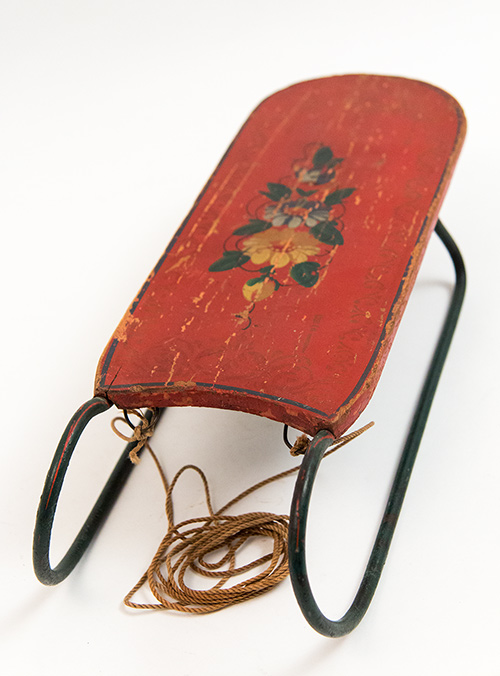 Antique American Doll Sled with Original Painted Surface For Sale From Z and K Antiques
