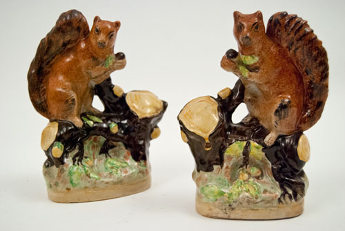 Historical Staffordshire: Pair Squirrels on Tree Stump Bases holding Acorns 19th Century Antique Staffordshire Pottery