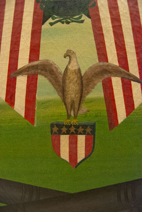 Patriotic GAR Oil on Canvas with Eagle, Flags, and Cannons