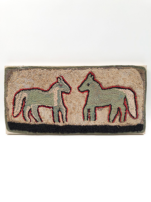 Primitve Antique Country Folk Art Hooked Rug of Two Horses