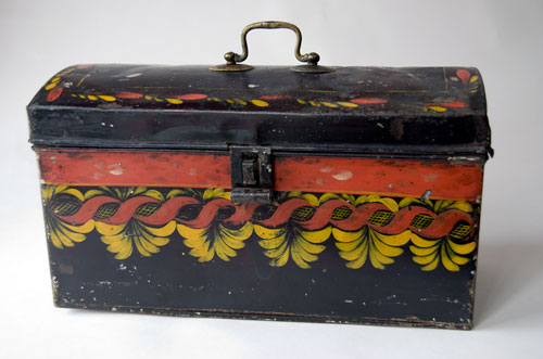 Antique American Painted Toleware Tinware Folk Art For Sale