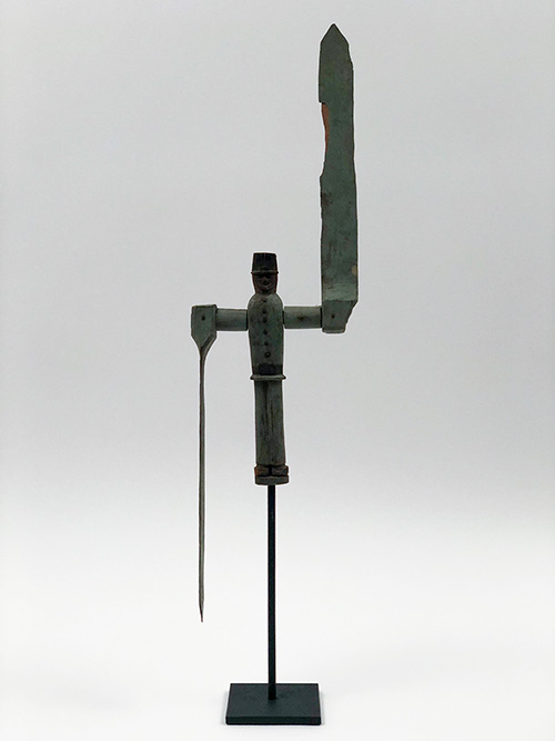 Original Museum Quality Sage Green Paint Decorated Antique Hand Carved Folk Art New England Soldier Whirligig For Sale