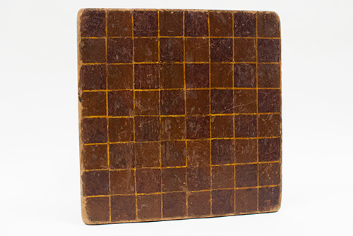 Early American Folk Art Paint Decorated Antebellum Gameboard in Original Red, Mustard, and Brown Surface