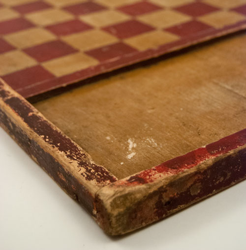Antique American Game Board in Original Red and White Paint